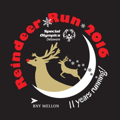 The new long-sleeve T-shirt design for the 2016 Reindeer Run and Romp.
